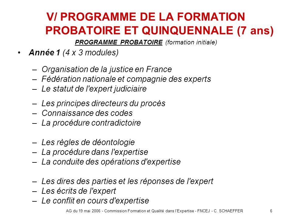 6AG du 19 mai 2006 - Commission Formation et Qualité dans l'Expertise - FNCEJ - C. SCHAEFFER V/ PROGRAMME DE LA FORMATION PROBATOIRE ET QUINQUENNALE (