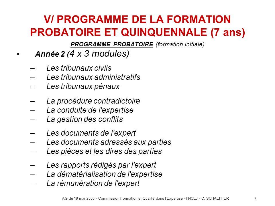 7AG du 19 mai 2006 - Commission Formation et Qualité dans l'Expertise - FNCEJ - C. SCHAEFFER V/ PROGRAMME DE LA FORMATION PROBATOIRE ET QUINQUENNALE (