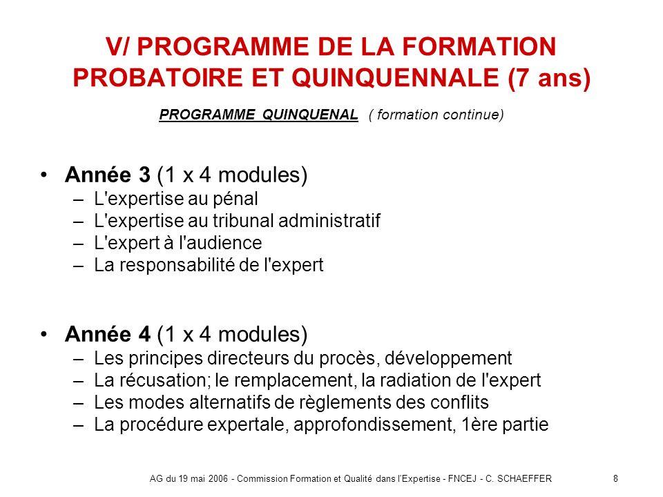 8AG du 19 mai 2006 - Commission Formation et Qualité dans l'Expertise - FNCEJ - C. SCHAEFFER V/ PROGRAMME DE LA FORMATION PROBATOIRE ET QUINQUENNALE (