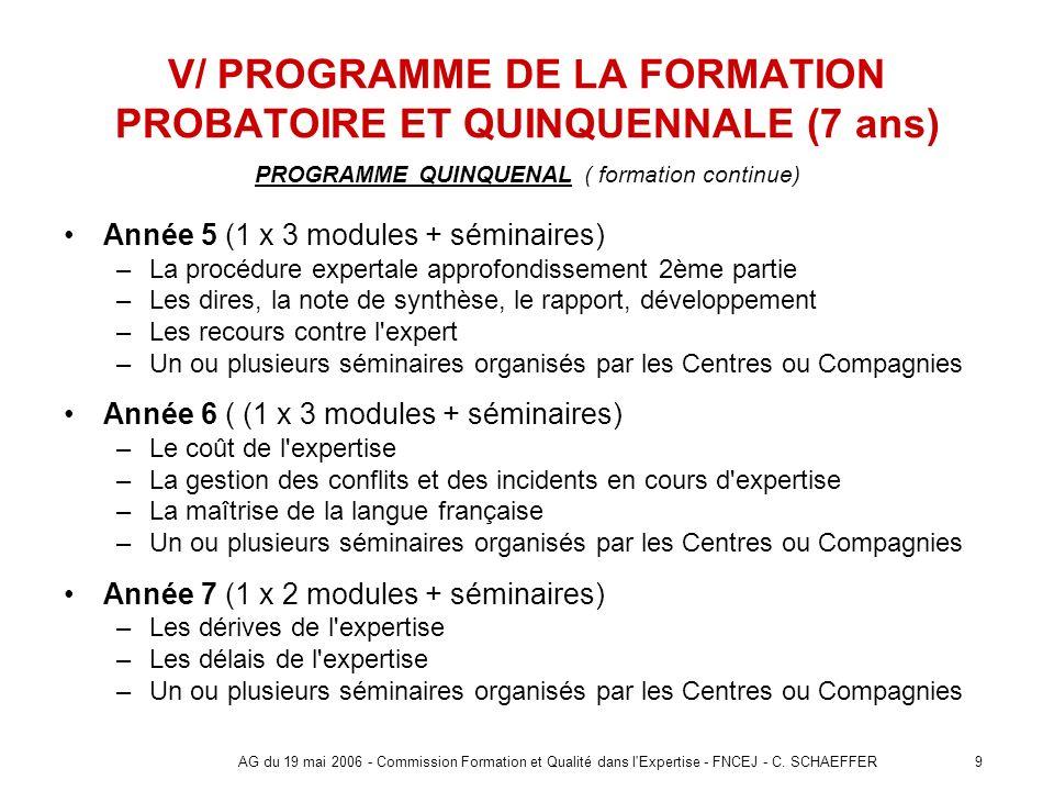 9AG du 19 mai 2006 - Commission Formation et Qualité dans l'Expertise - FNCEJ - C. SCHAEFFER V/ PROGRAMME DE LA FORMATION PROBATOIRE ET QUINQUENNALE (