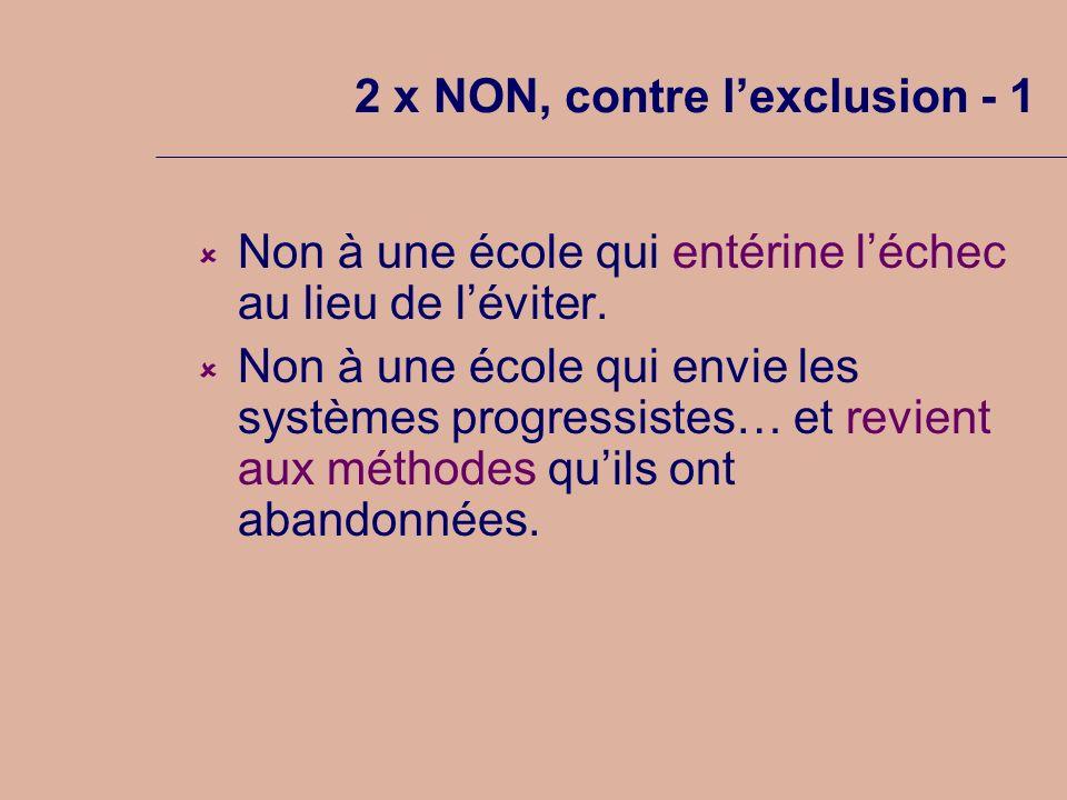 2 x NON, contre lexclusion - 1 Non à une école qui entérine léchec au lieu de léviter.