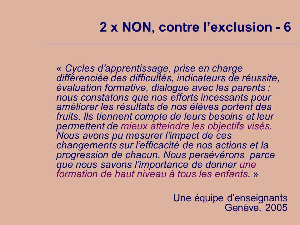 2 x NON, contre lexclusion - 6 « Cycles dapprentissage, prise en charge différenciée des difficultés, indicateurs de réussite, évaluation formative, d