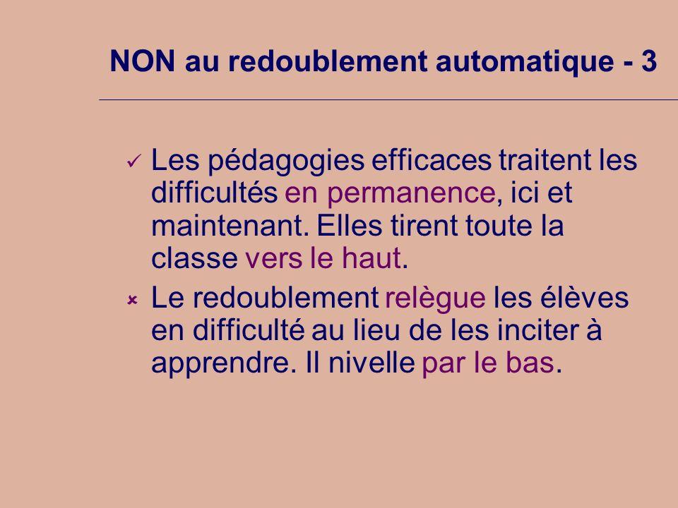 NON au redoublement automatique - 3 Les pédagogies efficaces traitent les difficultés en permanence, ici et maintenant. Elles tirent toute la classe v