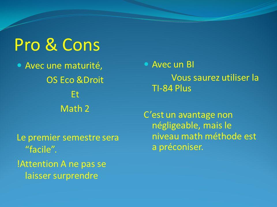 Pro & Cons Avec une maturité, OS Eco &Droit Et Math 2 Le premier semestre sera facile.