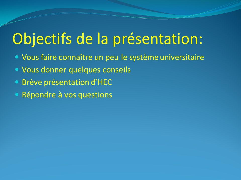 Objectifs de la présentation: Vous faire connaître un peu le système universitaire Vous donner quelques conseils Brève présentation dHEC Répondre à vos questions