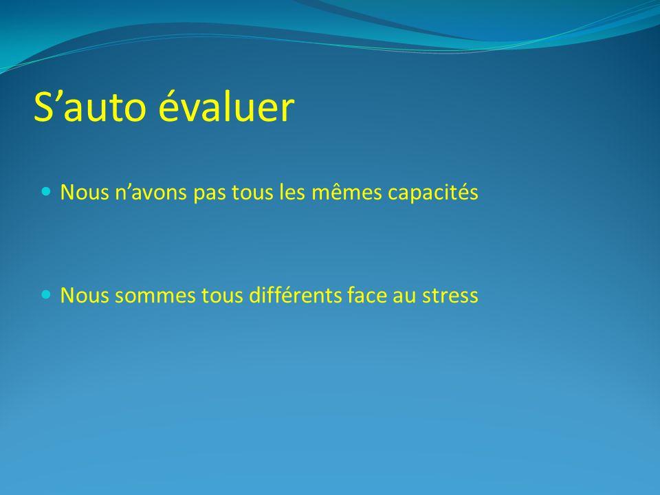 Sauto évaluer Nous navons pas tous les mêmes capacités Nous sommes tous différents face au stress