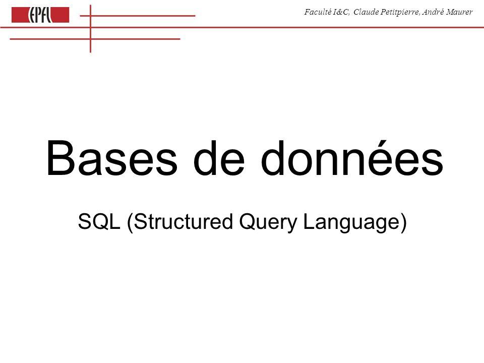Faculté I&C, Claude Petitpierre, André Maurer Bases de données SQL (Structured Query Language)