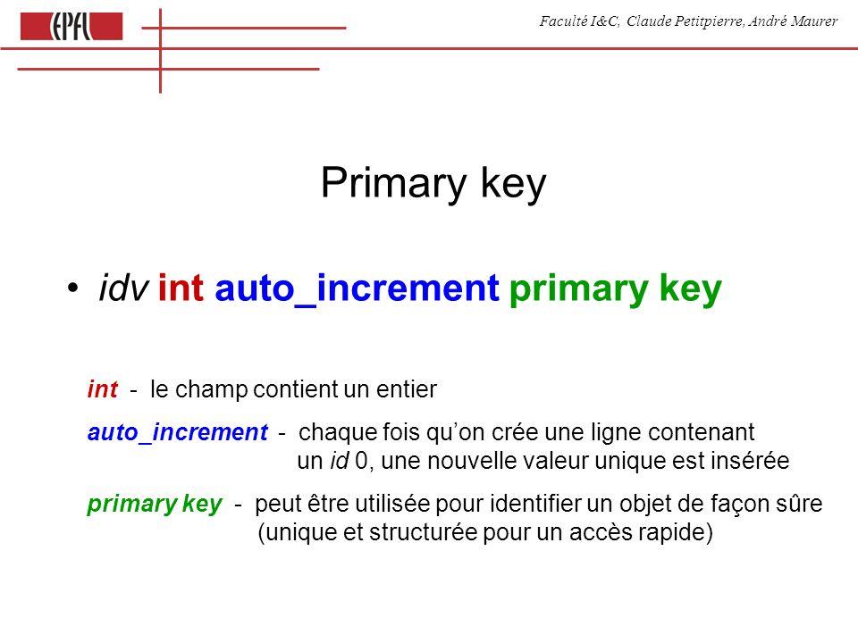Faculté I&C, Claude Petitpierre, André Maurer Primary key idv int auto_increment primary key int - le champ contient un entier auto_increment - chaque fois quon crée une ligne contenant un id 0, une nouvelle valeur unique est insérée primary key - peut être utilisée pour identifier un objet de façon sûre (unique et structurée pour un accès rapide)