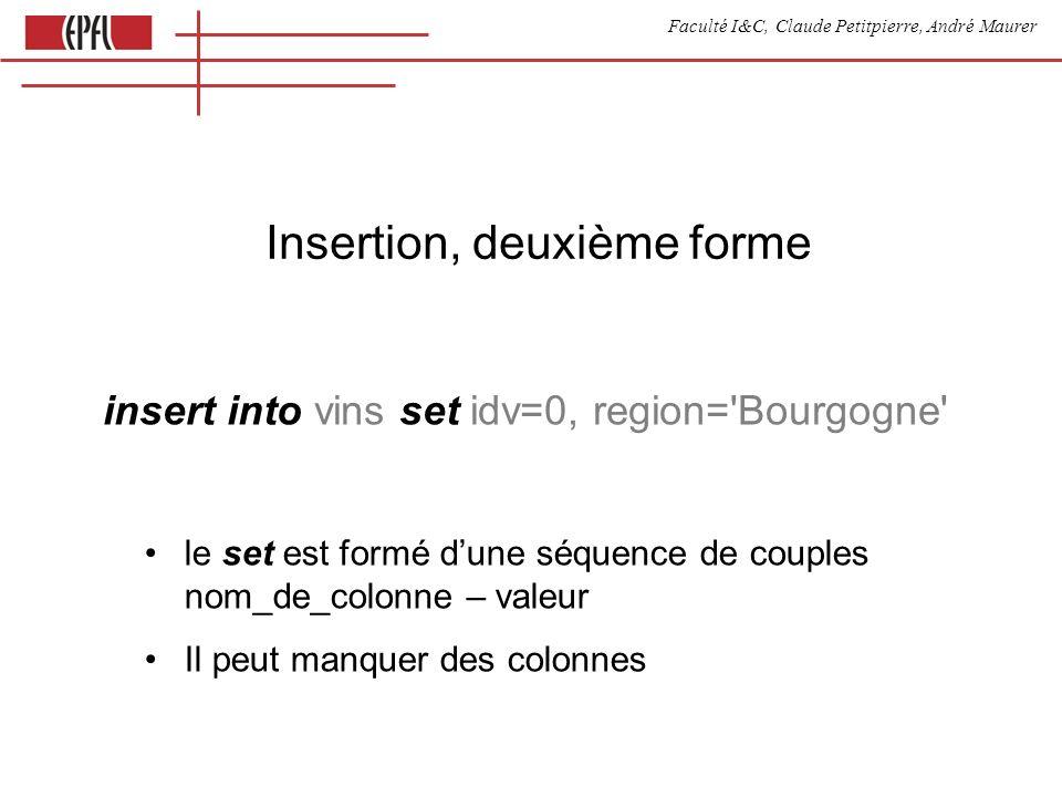 Faculté I&C, Claude Petitpierre, André Maurer Insertion, deuxième forme insert into vins set idv=0, region= Bourgogne le set est formé dune séquence de couples nom_de_colonne – valeur Il peut manquer des colonnes