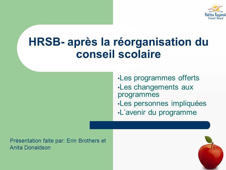 HRSB- après la réorganisation du conseil scolaire Les programmes offerts Les changements aux programmes Les personnes impliquées Lavenir du programme Présentation faite par: Erin Brothers et Anita Donaldson
