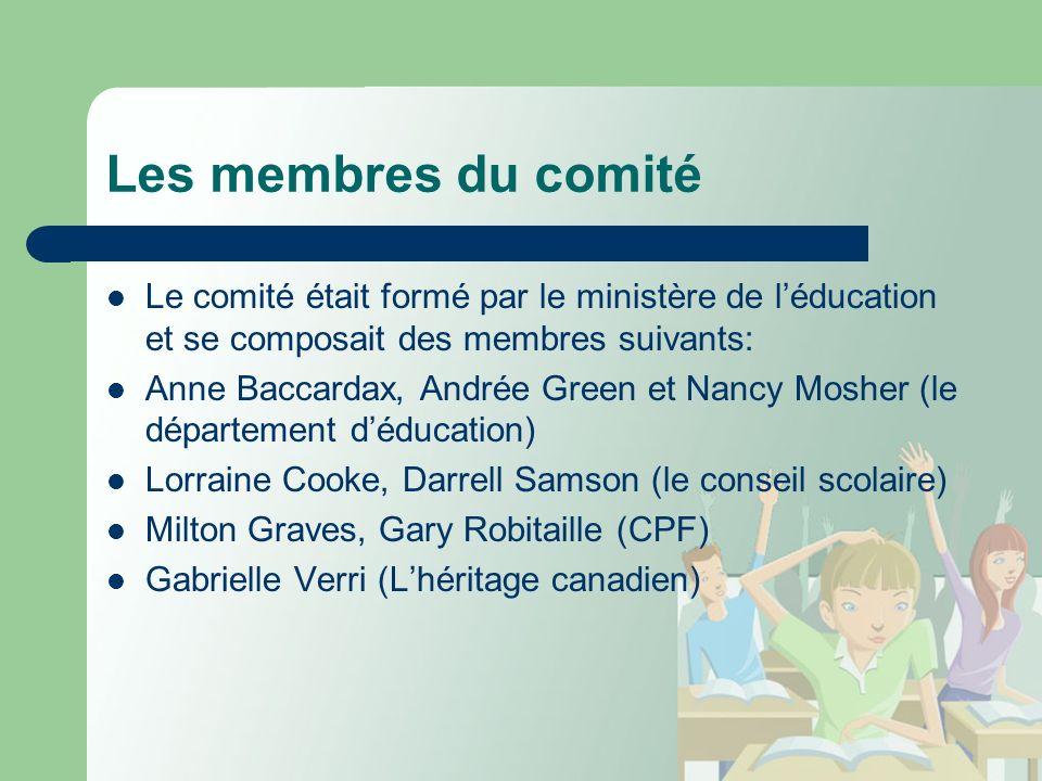 Les membres du comité Le comité était formé par le ministère de léducation et se composait des membres suivants: Anne Baccardax, Andrée Green et Nancy Mosher (le département déducation) Lorraine Cooke, Darrell Samson (le conseil scolaire) Milton Graves, Gary Robitaille (CPF) Gabrielle Verri (Lhéritage canadien)