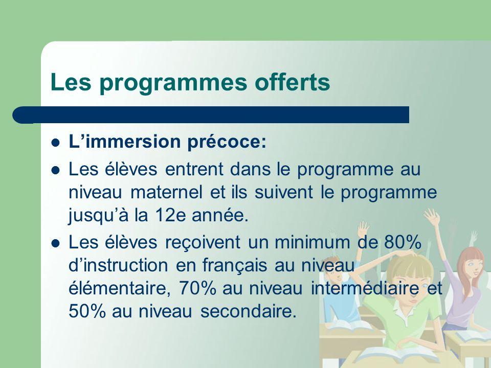 Les programmes offerts Limmersion précoce: Les élèves entrent dans le programme au niveau maternel et ils suivent le programme jusquà la 12e année.