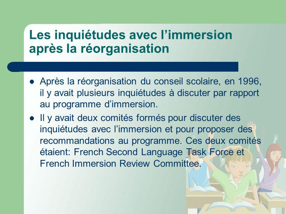 Les inquiétudes avec limmersion après la réorganisation Après la réorganisation du conseil scolaire, en 1996, il y avait plusieurs inquiétudes à discuter par rapport au programme dimmersion.