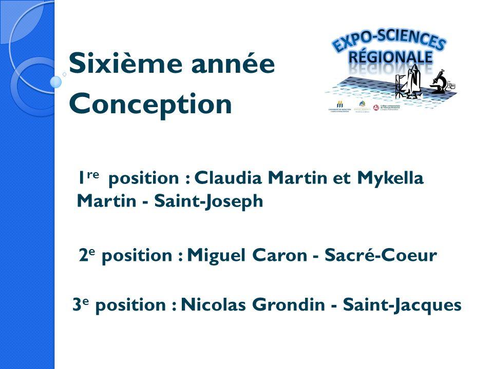Sixième année Conception 1 re position : Claudia Martin et Mykella Martin - Saint-Joseph 2 e position : Miguel Caron - Sacré-Coeur 3 e position : Nico
