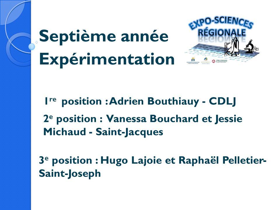 Septième année Expérimentation 1 re position : Adrien Bouthiauy - CDLJ 2 e position : Vanessa Bouchard et Jessie Michaud - Saint-Jacques 3 e position