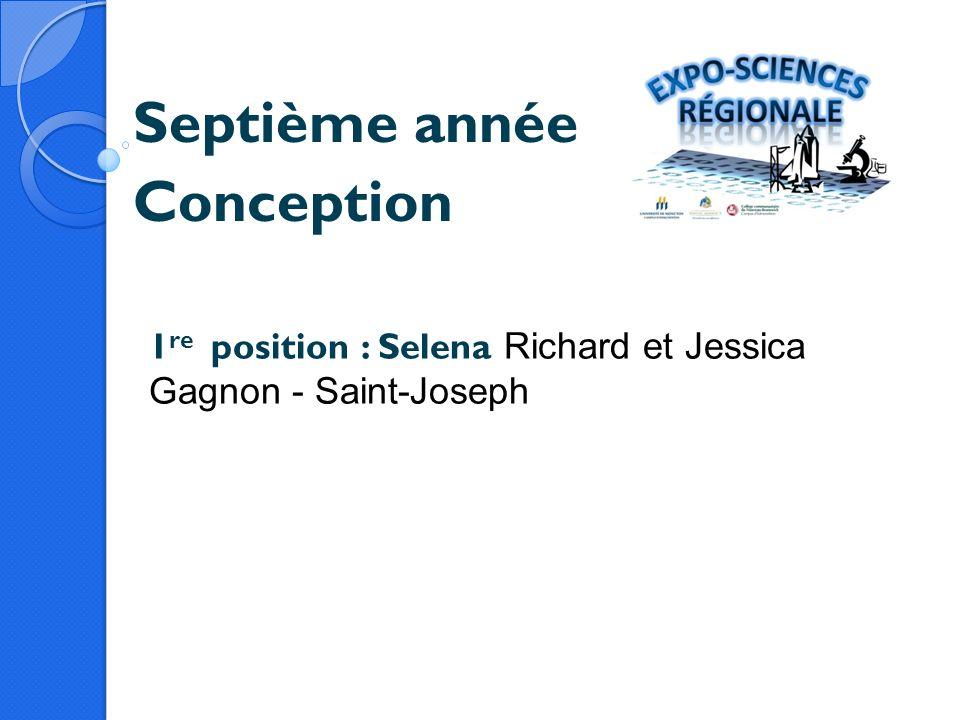 Septième année Conception 1 re position : Selena Richard et Jessica Gagnon - Saint-Joseph