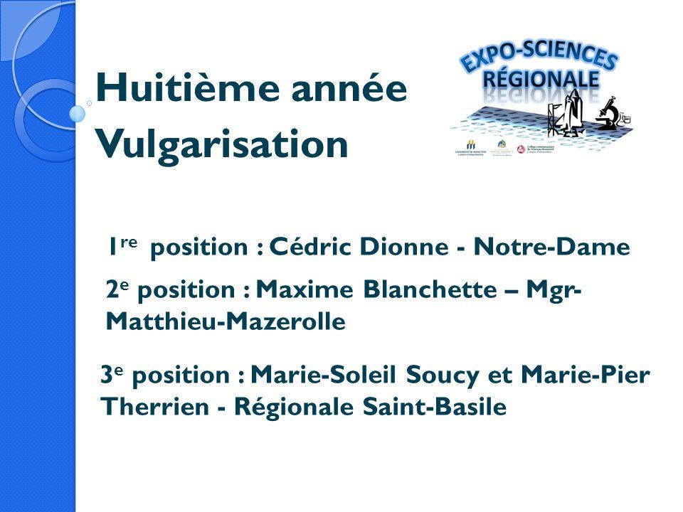 Huitième année Vulgarisation 1 re position : Cédric Dionne - Notre-Dame 2 e position : Maxime Blanchette – Mgr- Matthieu-Mazerolle 3 e position : Mari