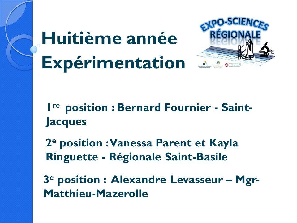Huitième année Expérimentation 1 re position : Bernard Fournier - Saint- Jacques 2 e position : Vanessa Parent et Kayla Ringuette - Régionale Saint-Ba