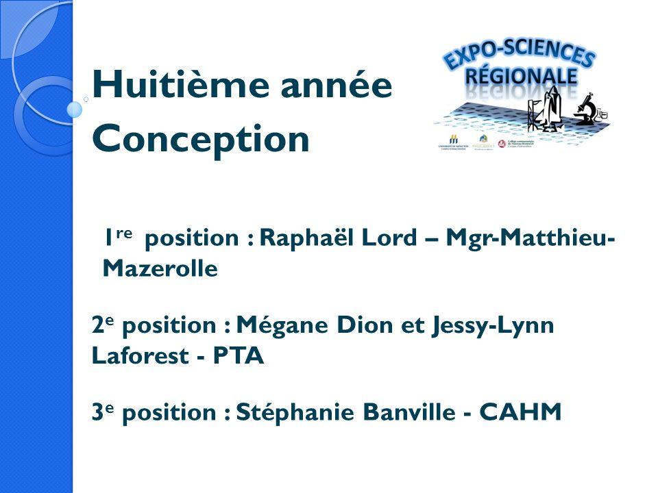 Huitième année Conception 1 re position : Raphaël Lord – Mgr-Matthieu- Mazerolle 2 e position : Mégane Dion et Jessy-Lynn Laforest - PTA 3 e position