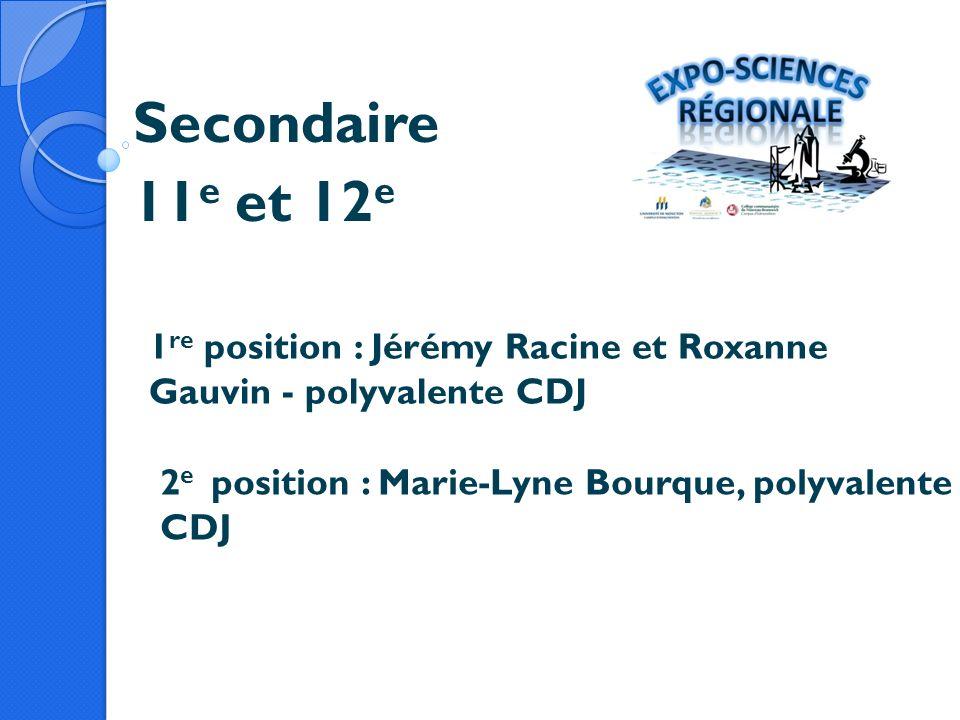 Secondaire 11 e et 12 e 1 re position : Jérémy Racine et Roxanne Gauvin - polyvalente CDJ 2 e position : Marie-Lyne Bourque, polyvalente CDJ