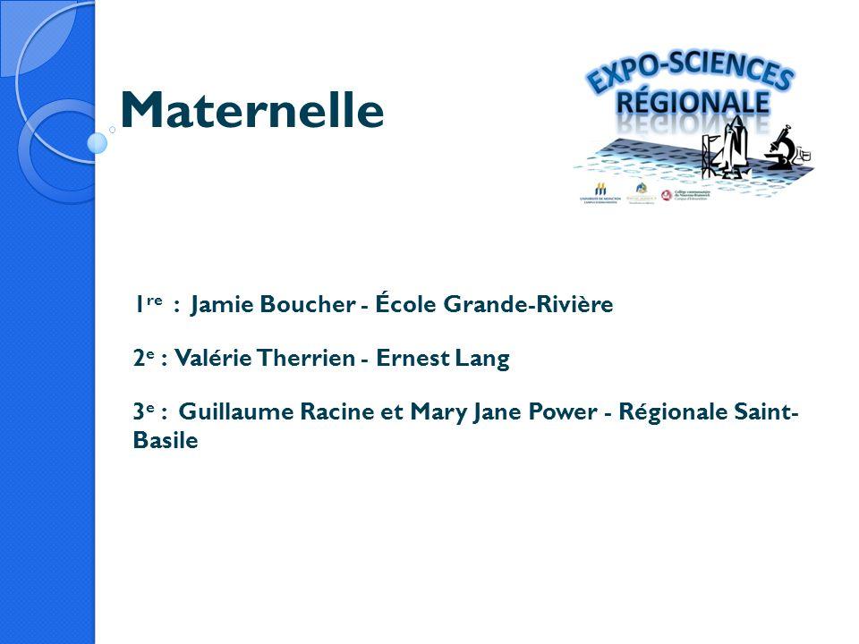 Maternelle 1 re : Jamie Boucher - École Grande-Rivière 2 e : Valérie Therrien - Ernest Lang 3 e : Guillaume Racine et Mary Jane Power - Régionale Sain