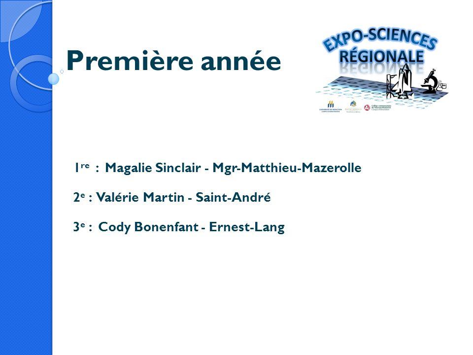 Première année 1 re : Magalie Sinclair - Mgr-Matthieu-Mazerolle 2 e : Valérie Martin - Saint-André 3 e : Cody Bonenfant - Ernest-Lang