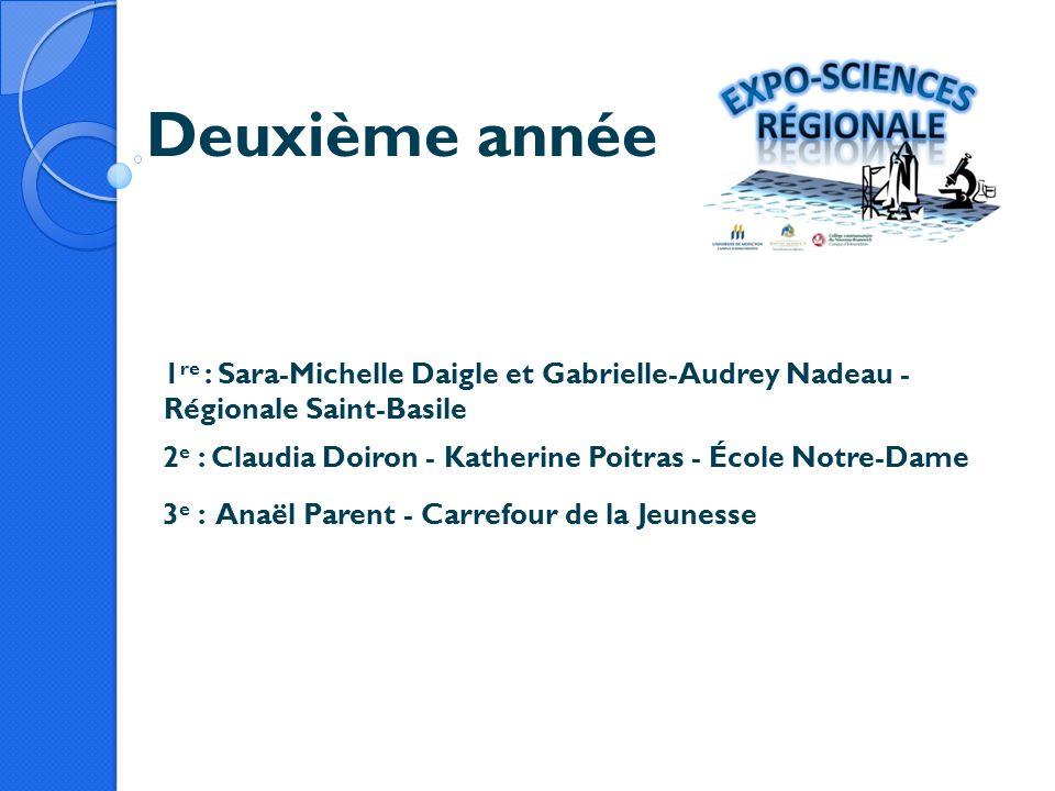 Deuxième année 1 re : Sara-Michelle Daigle et Gabrielle-Audrey Nadeau - Régionale Saint-Basile 2 e : Claudia Doiron - Katherine Poitras - École Notre-