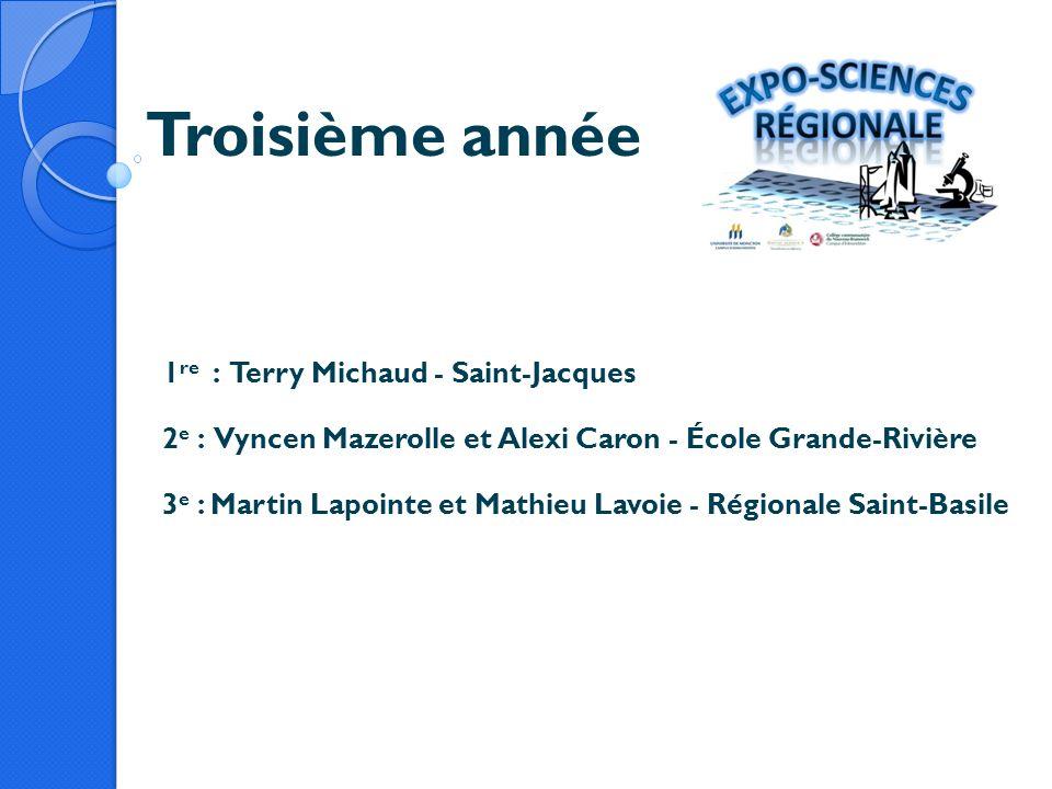 Troisième année 1 re : Terry Michaud - Saint-Jacques 2 e : Vyncen Mazerolle et Alexi Caron - École Grande-Rivière 3 e : Martin Lapointe et Mathieu Lav
