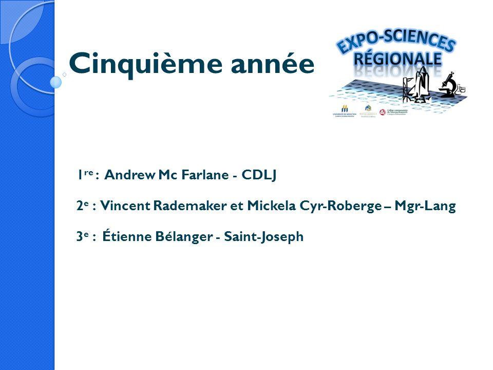 Cinquième année 1 re : Andrew Mc Farlane - CDLJ 2 e : Vincent Rademaker et Mickela Cyr-Roberge – Mgr-Lang 3 e : Étienne Bélanger - Saint-Joseph