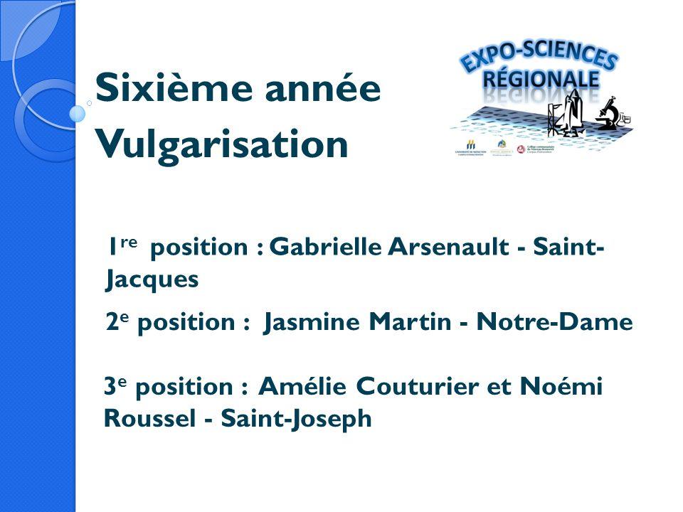 Sixième année Vulgarisation 1 re position : Gabrielle Arsenault - Saint- Jacques 2 e position :Jasmine Martin - Notre-Dame 3 e position : Amélie Coutu