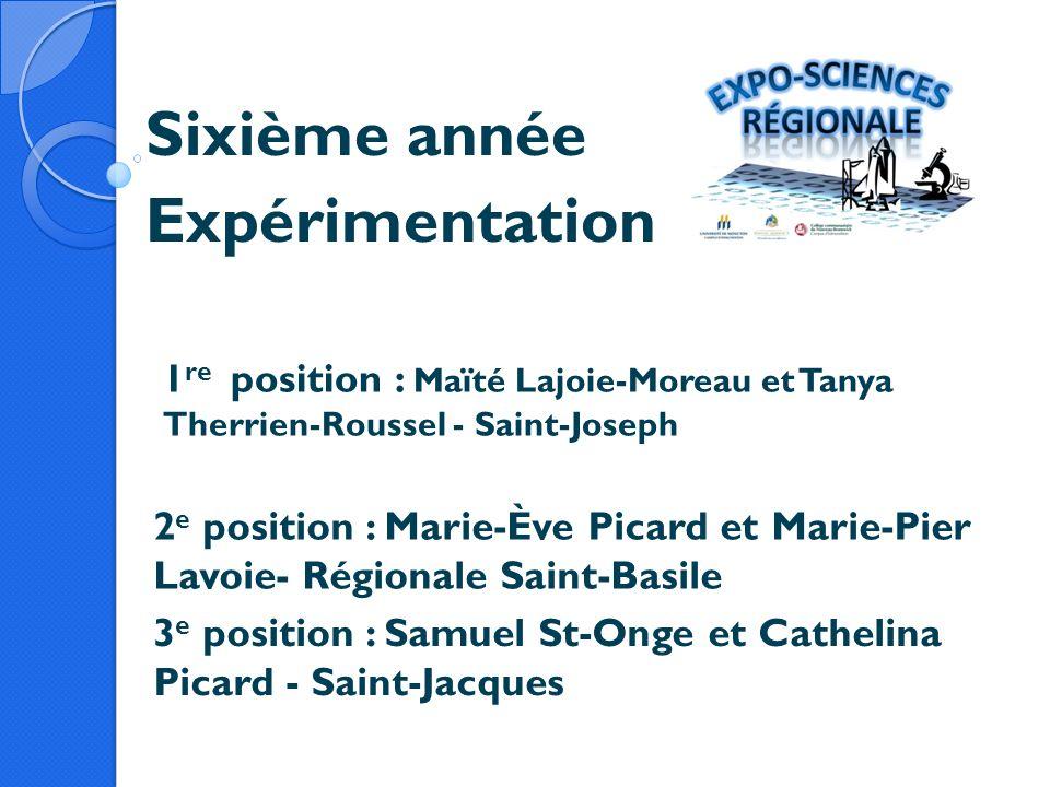 Sixième année Expérimentation 1 re position : Maïté Lajoie-Moreau et Tanya Therrien-Roussel - Saint-Joseph 2 e position : Marie-Ève Picard et Marie-Pi