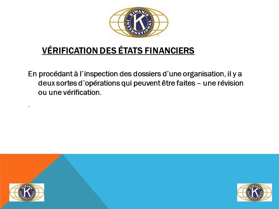 RAPPORT DE CONCLUSION – RÉVISION/VÉRIFICATION Nous avons examiné les états financiers du club Kiwanis de ________________ pour lannée terminée le 30 septembre ________.