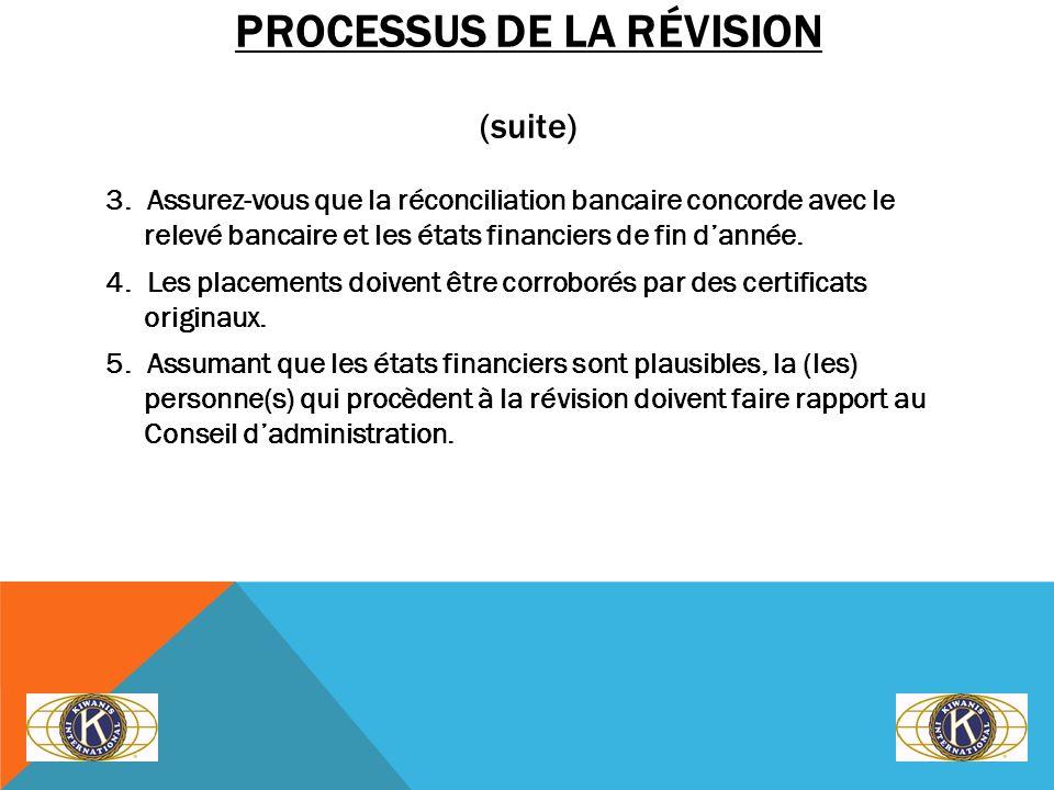 PROCESSUS DE LA RÉVISION (suite) 3. Assurez-vous que la réconciliation bancaire concorde avec le relevé bancaire et les états financiers de fin dannée
