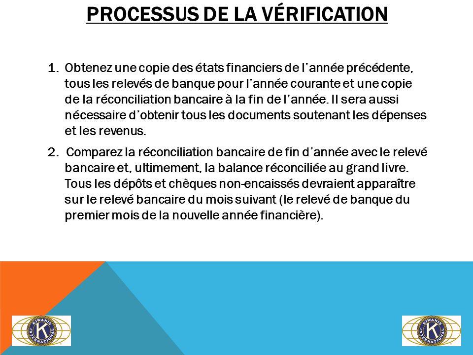 PROCESSUS DE LA VÉRIFICATION 1. Obtenez une copie des états financiers de lannée précédente, tous les relevés de banque pour lannée courante et une co