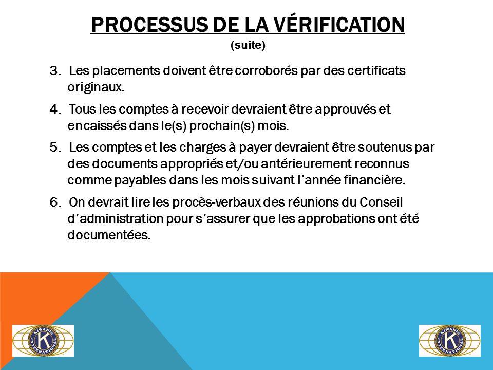 PROCESSUS DE LA VÉRIFICATION (suite) 3. Les placements doivent être corroborés par des certificats originaux. 4. Tous les comptes à recevoir devraient