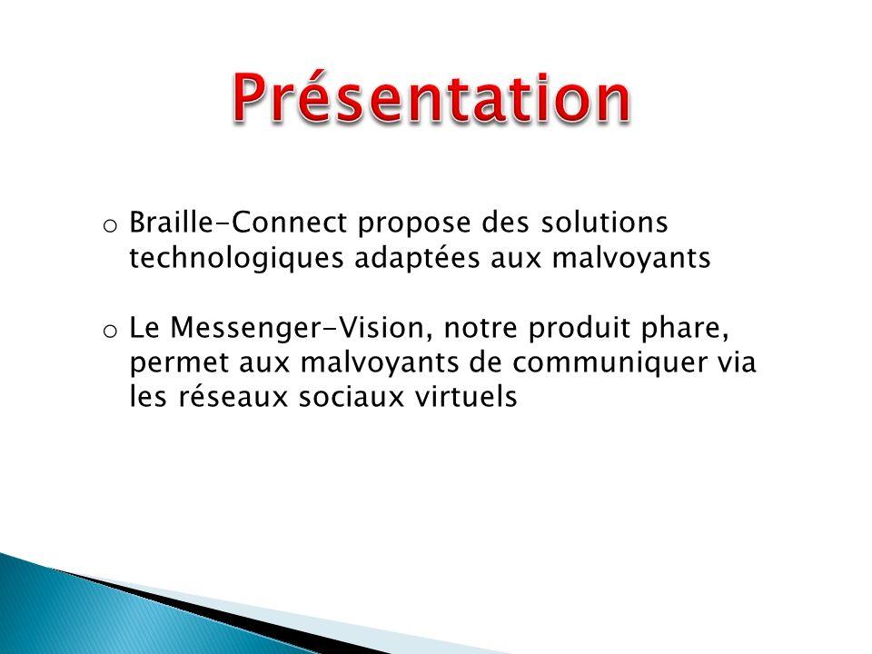 o Braille-Connect propose des solutions technologiques adaptées aux malvoyants o Le Messenger-Vision, notre produit phare, permet aux malvoyants de communiquer via les réseaux sociaux virtuels