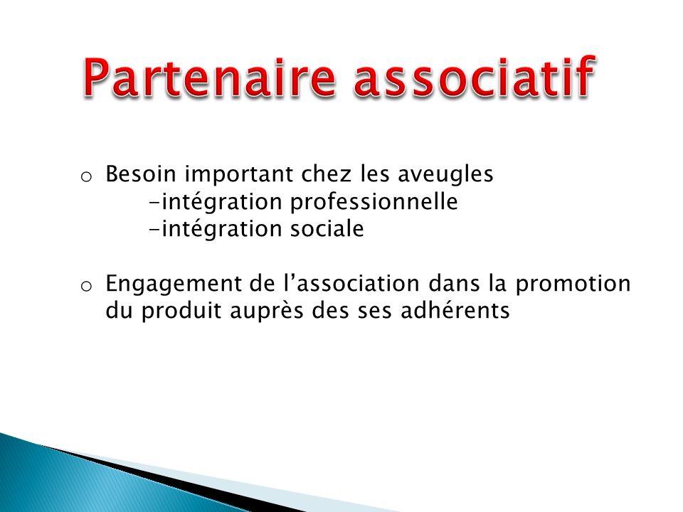 o Besoin important chez les aveugles -intégration professionnelle -intégration sociale o Engagement de lassociation dans la promotion du produit auprès des ses adhérents