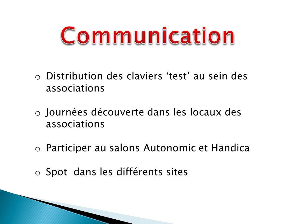 o Distribution des claviers test au sein des associations o Journées découverte dans les locaux des associations o Participer au salons Autonomic et Handica o Spot dans les différents sites