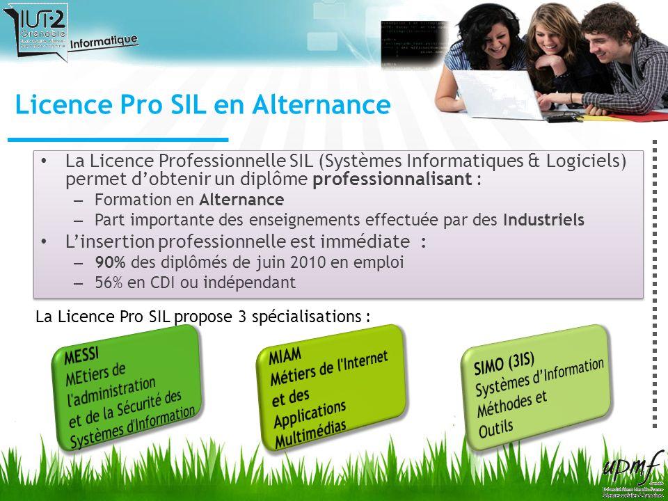 La Licence Professionnelle SIL (Systèmes Informatiques & Logiciels) permet dobtenir un diplôme professionnalisant : – Formation en Alternance – Part i