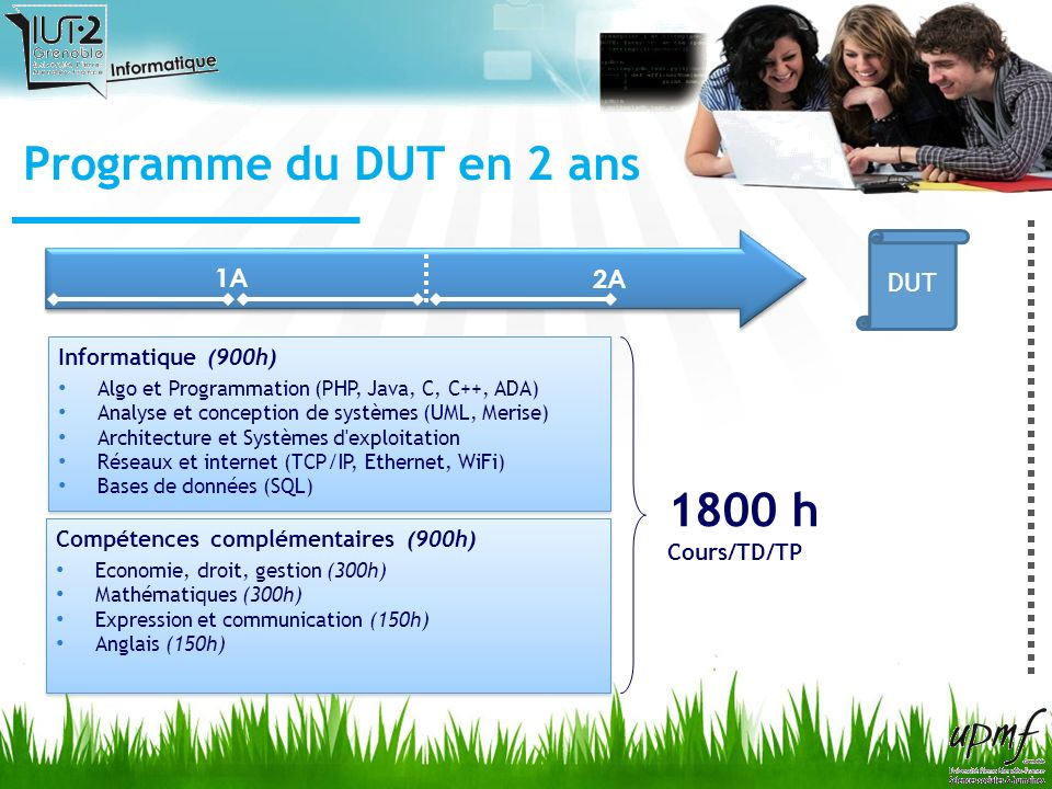 Programme du DUT en 2 ans 1A 2A Stage 10 semaines à partir davril En entreprise ou en laboratoire de recherche En France et à létranger DUT Projets (1A + 2A) Projet personnel & professionnel Projets en groupes (4/5) encadrés sur plusieurs mois 1A 2A DUT Le DUT informatique privilégie la pratique - A travers des projets réalisés tout au long de la formation - Lors du stage en entreprise effectué à la fin de la deuxième année.