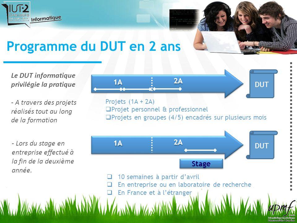 Programme du DUT en 2 ans 1A 2A Stage 10 semaines à partir davril En entreprise ou en laboratoire de recherche En France et à létranger DUT Projets (1