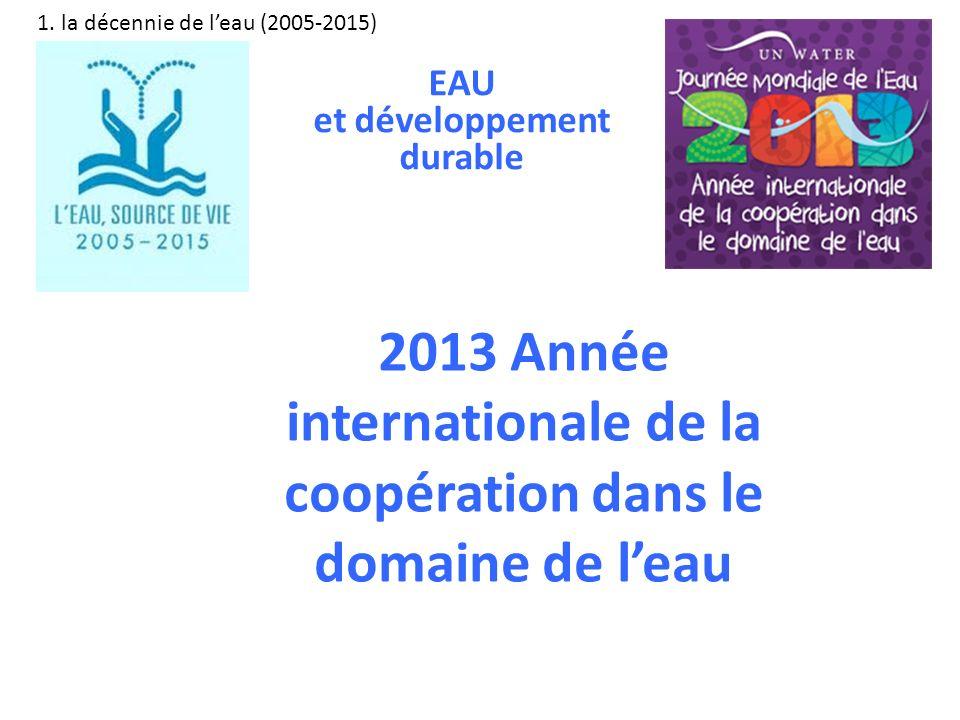 2013 Année internationale de la coopération dans le domaine de leau 1. la décennie de leau (2005-2015) EAU et développement durable