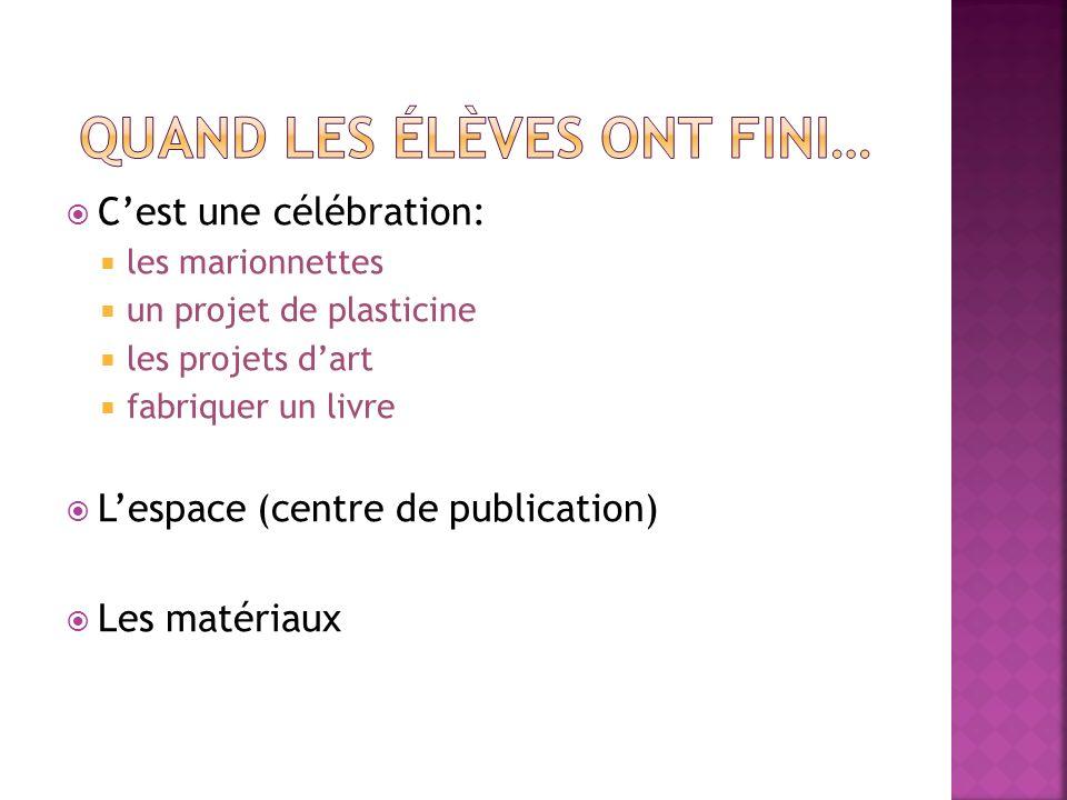 Cest une célébration: les marionnettes un projet de plasticine les projets dart fabriquer un livre Lespace (centre de publication) Les matériaux