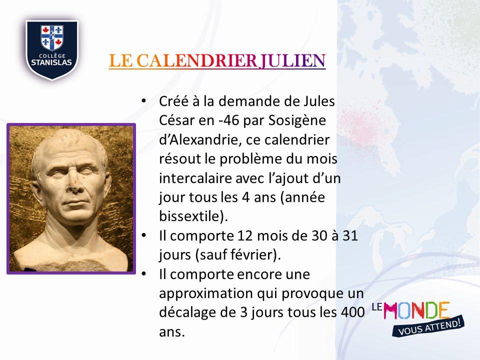 Créé à la demande de Jules César en -46 par Sosigène dAlexandrie, ce calendrier résout le problème du mois intercalaire avec lajout dun jour tous les