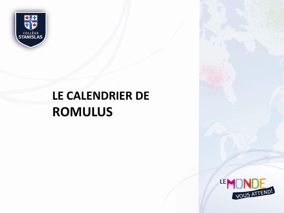 LE CALENDRIER DE ROMULUS