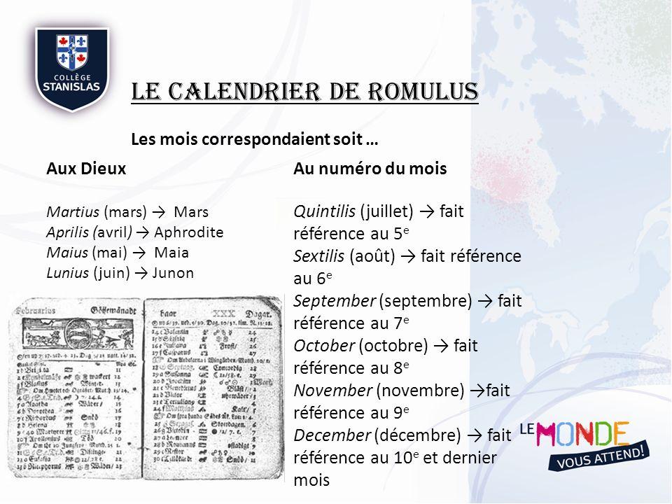 Le Calendrier de Romulus Les mois correspondaient soit … Aux Dieux Martius (mars) Mars Aprilis (avril) Aphrodite Maius (mai) Maia Lunius (juin) Junon