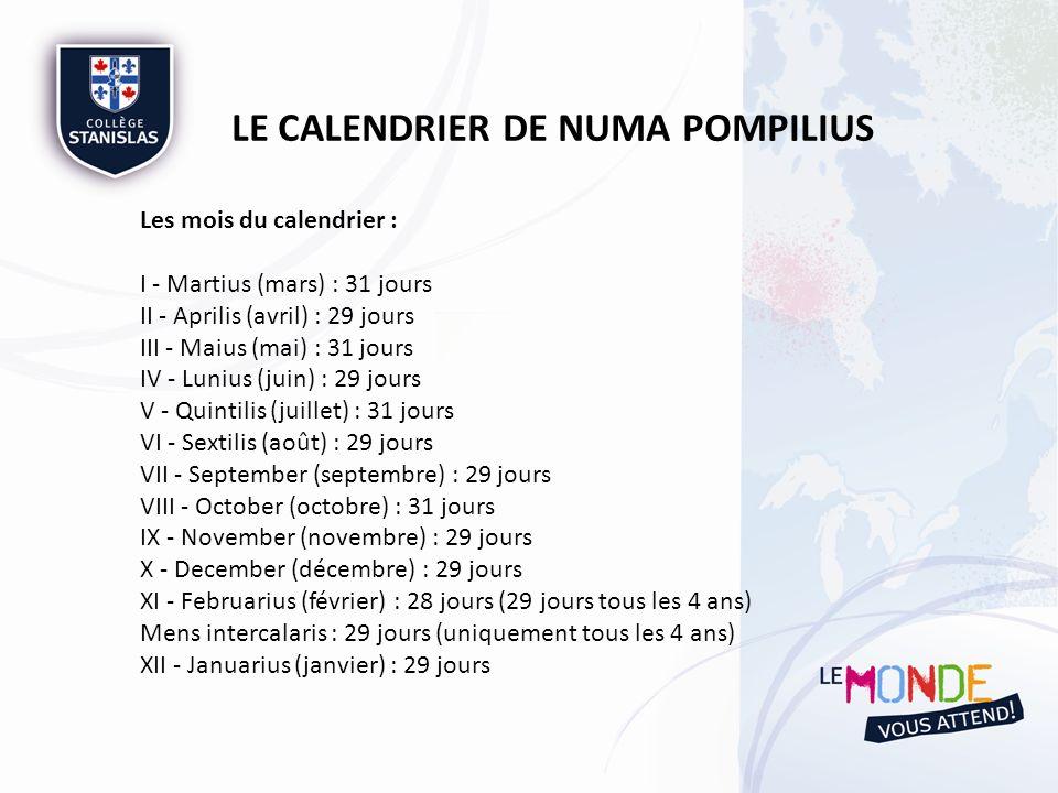 LE CALENDRIER DE NUMA POMPILIUS Les mois du calendrier : I - Martius (mars) : 31 jours II - Aprilis (avril) : 29 jours III - Maius (mai) : 31 jours IV