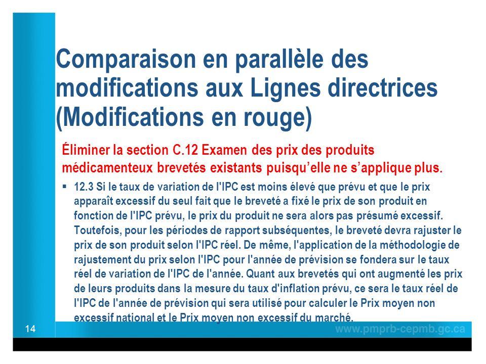 Comparaison en parallèle des modifications aux Lignes directrices (Modifications en rouge) Éliminer la section C.12 Examen des prix des produits médicamenteux brevetés existants puisquelle ne sapplique plus.