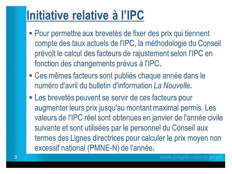 Initiative relative à lIPC Le fait d utiliser l IPC réel au lieu de l IPC prévu pourrait permettre : de mieux harmoniser les processus du CEPMB d accroître l efficience des activités internes de réduire lincertitude qui influe sur les modèles de fixation du prix des brevetés et leur planification opérationnelle lors des années subséquentes doffrir aux brevetés un caractère de prévisibilité et de certitude lorsqu ils songent à augmenter leurs prix Une analyse des répercussions menée par le personnel du Conseil montre qu au cours des douze dernières années, les valeurs de l IPC prévu avaient tendance à être inférieures à celles de l IPC réel.