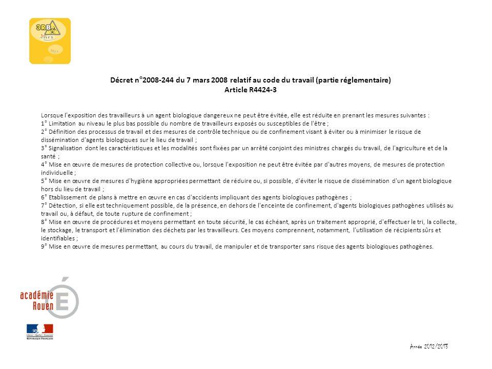 Décret n°2008-244 du 7 mars 2008 relatif au code du travail (partie réglementaire) Article R4424-3 Lorsque l'exposition des travailleurs à un agent bi
